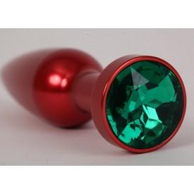 Большая красная анальная пробка с зеленым стразом - 11,2 см.