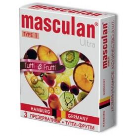 Жёлтые презервативы Masculan Ultra Tutti-Frutti с фруктовым ароматом - 3 шт.